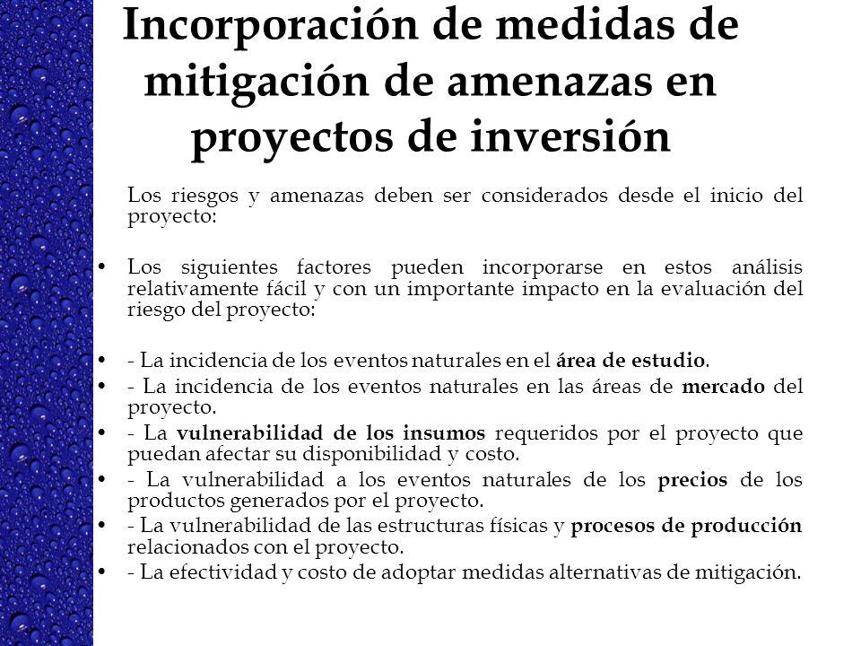 Incorporación de medidas de mitigación de amenazas en proyectos de inversión
