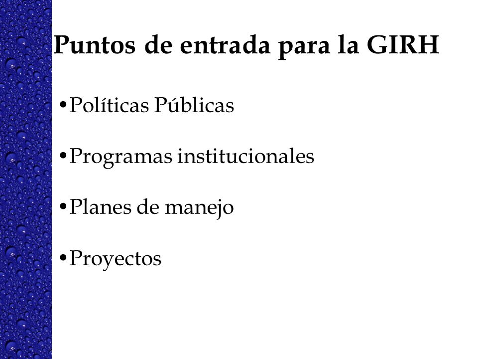 Puntos de entrada para la GIRH