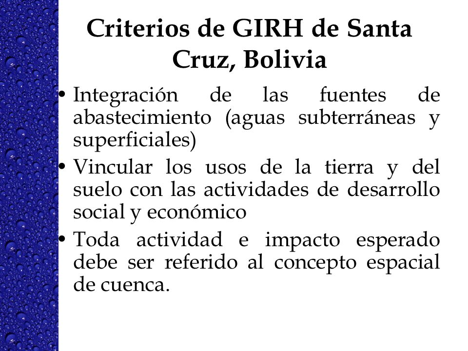 Criterios de GIRH de Santa Cruz, Bolivia