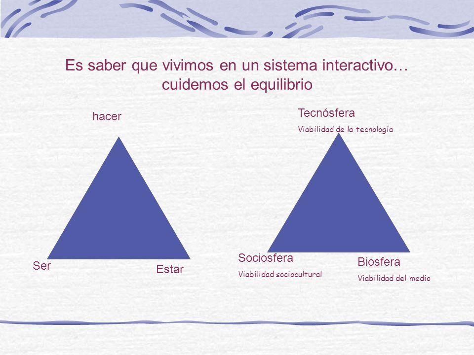 Es saber que vivimos en un sistema interactivo… cuidemos el equilibrio