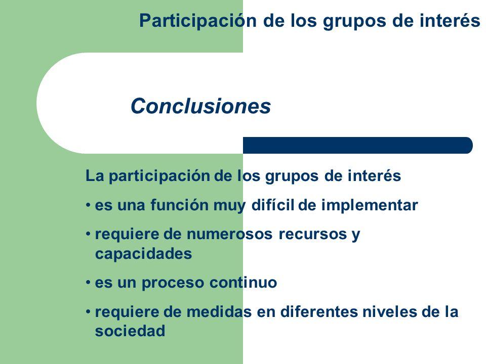 Conclusiones Participación de los grupos de interés