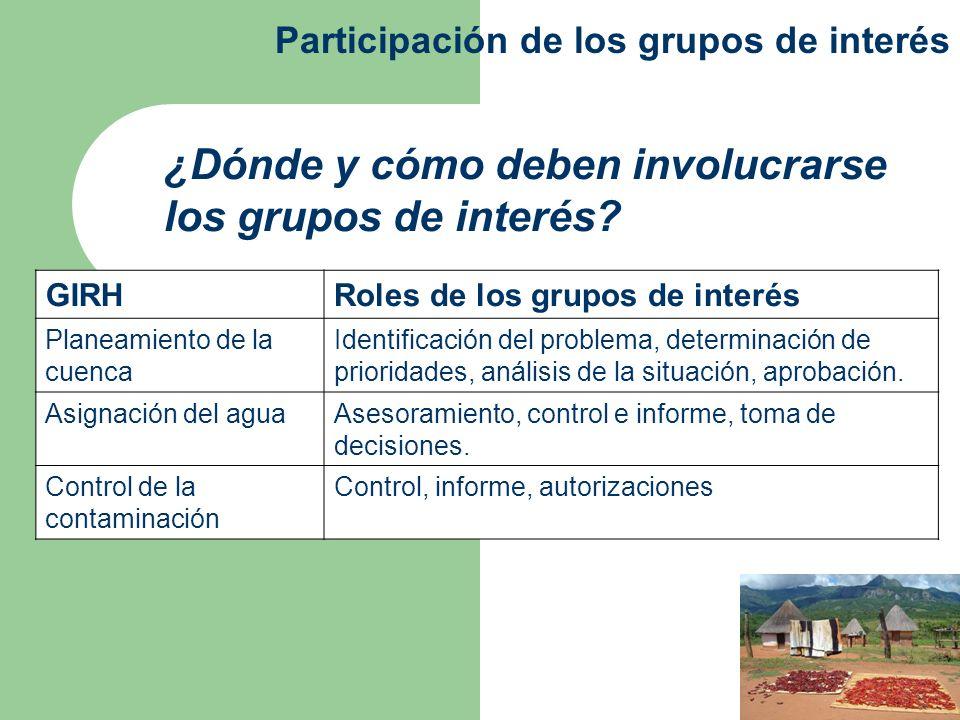 ¿Dónde y cómo deben involucrarse los grupos de interés