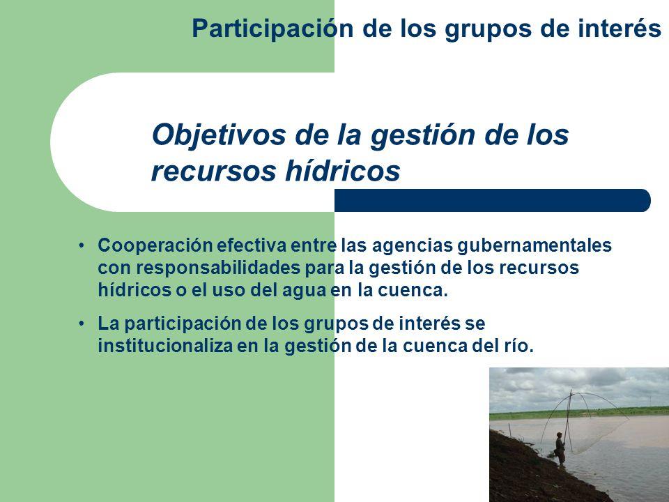 Objetivos de la gestión de los recursos hídricos