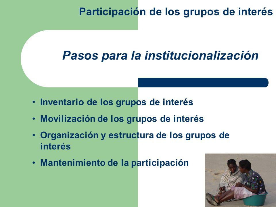 Pasos para la institucionalización