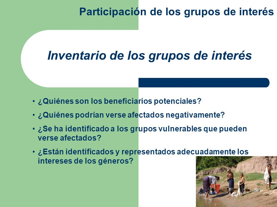 Inventario de los grupos de interés