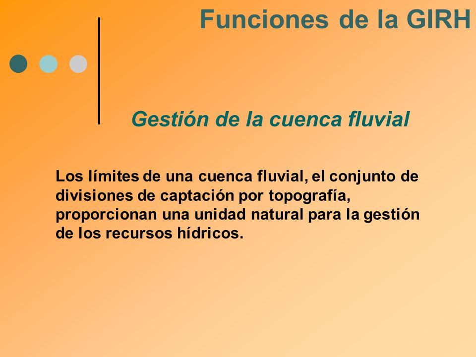 Funciones de la GIRH Gestión de la cuenca fluvial