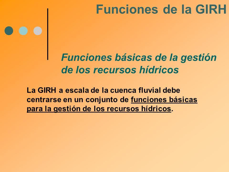 Funciones de la GIRH Funciones básicas de la gestión de los recursos hídricos.