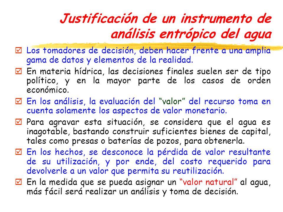 Justificación de un instrumento de análisis entrópico del agua