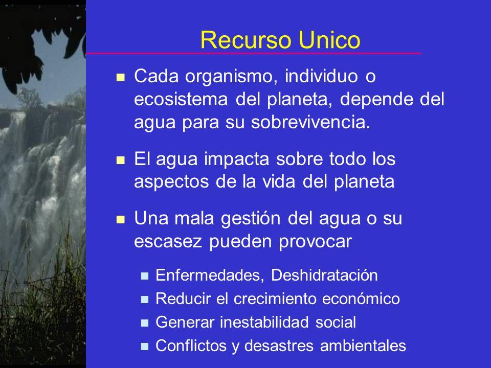 Recurso Unico Cada organismo, individuo o ecosistema del planeta, depende del agua para su sobrevivencia.