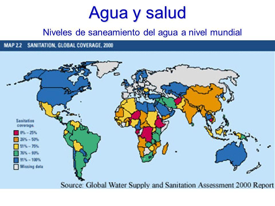 Agua y salud Niveles de saneamiento del agua a nivel mundial
