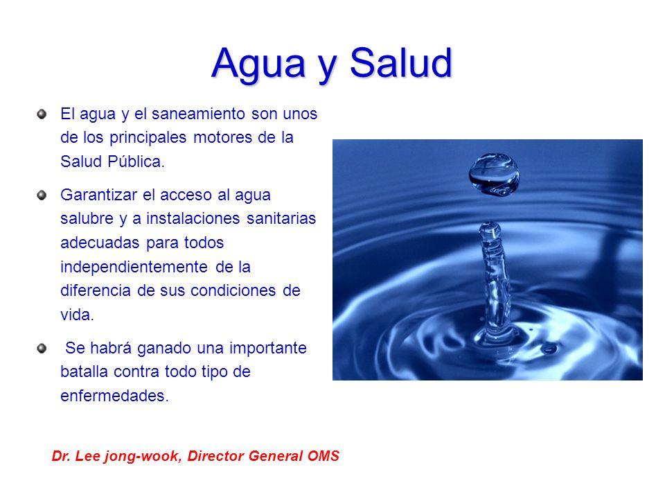 Agua y Salud El agua y el saneamiento son unos de los principales motores de la Salud Pública.