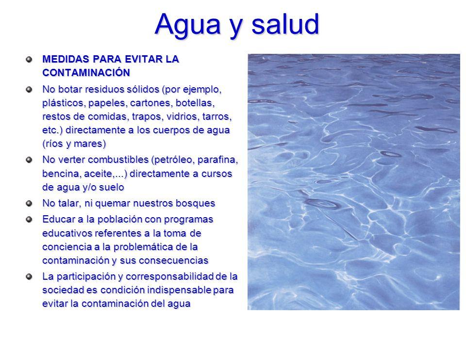 Agua y salud MEDIDAS PARA EVITAR LA CONTAMINACIÓN