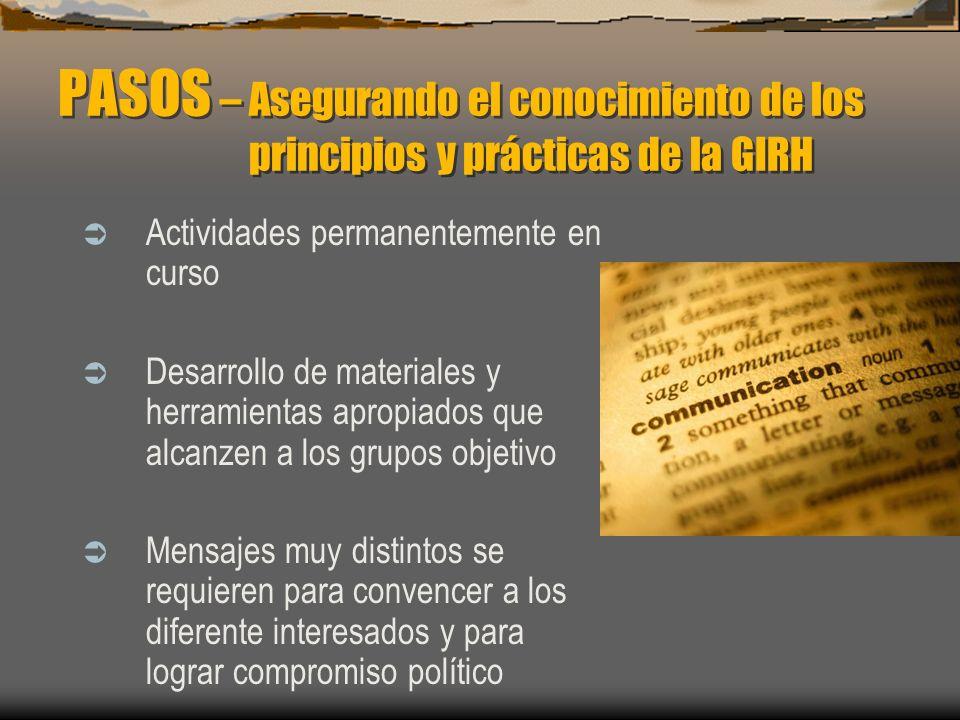PASOS – Asegurando el conocimiento de los principios y prácticas de la GIRH