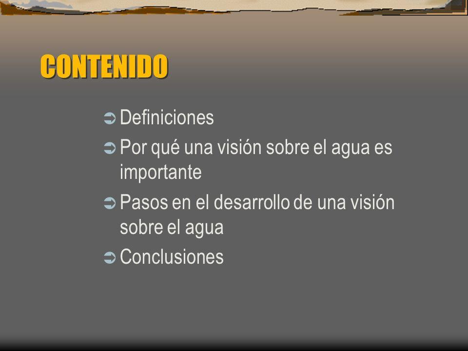 CONTENIDO Definiciones Por qué una visión sobre el agua es importante