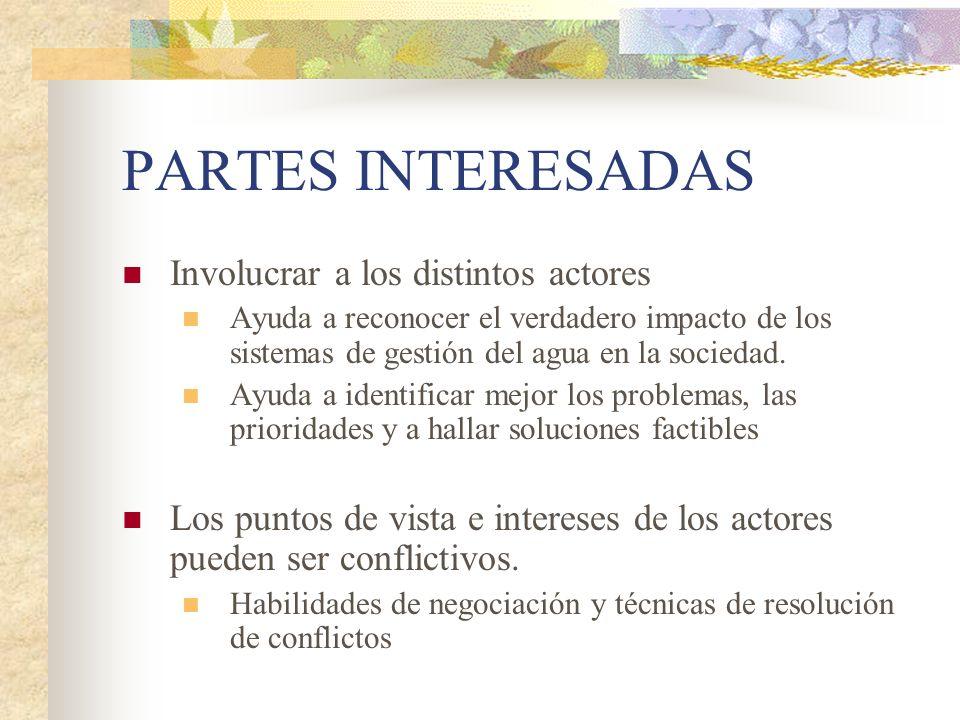 PARTES INTERESADAS Involucrar a los distintos actores
