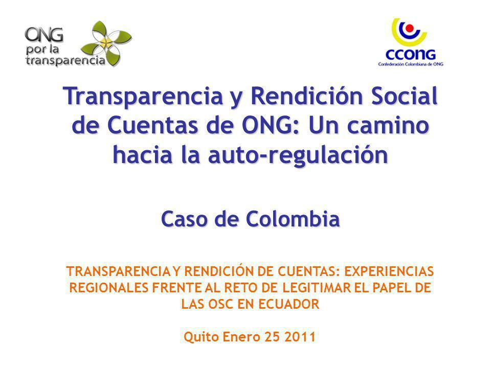 Transparencia y Rendición Social de Cuentas de ONG: Un camino hacia la auto-regulación