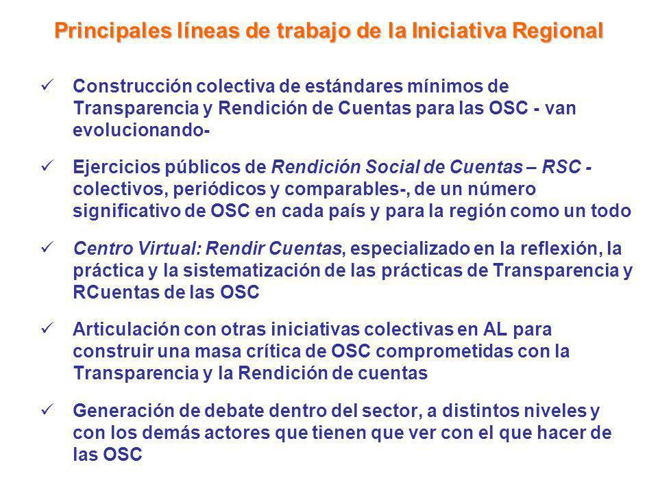 Principales líneas de trabajo de la Iniciativa Regional