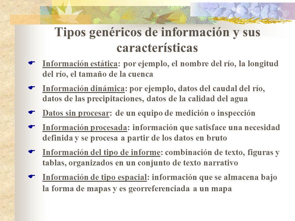 Tipos genéricos de información y sus características