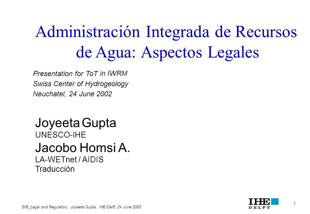 Administración Integrada de Recursos de Agua: Aspectos Legales