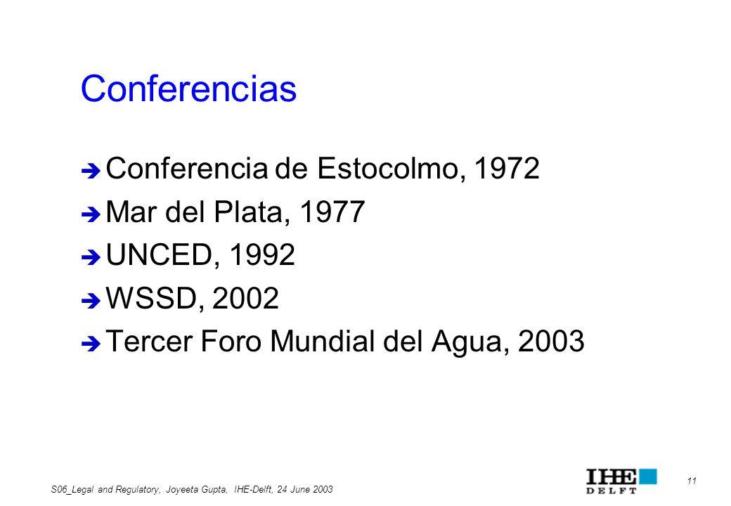 Conferencias Conferencia de Estocolmo, 1972 Mar del Plata, 1977