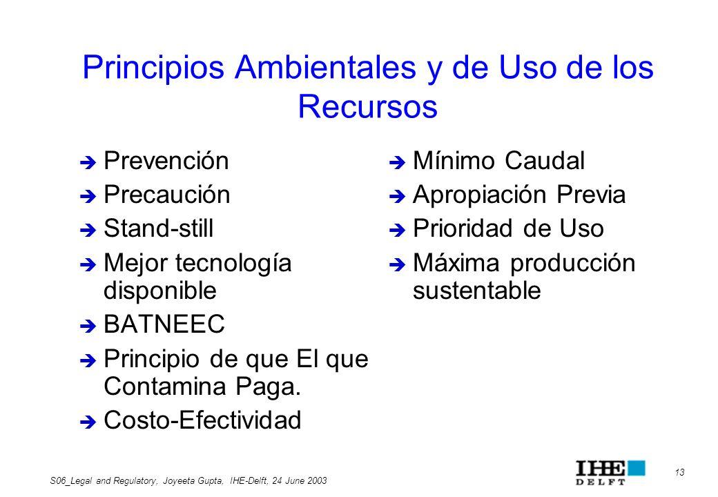 Principios Ambientales y de Uso de los Recursos