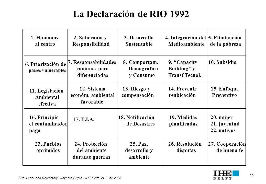 La Declaración de RIO 1992 1. Humanos al centro 2. Soberanía y