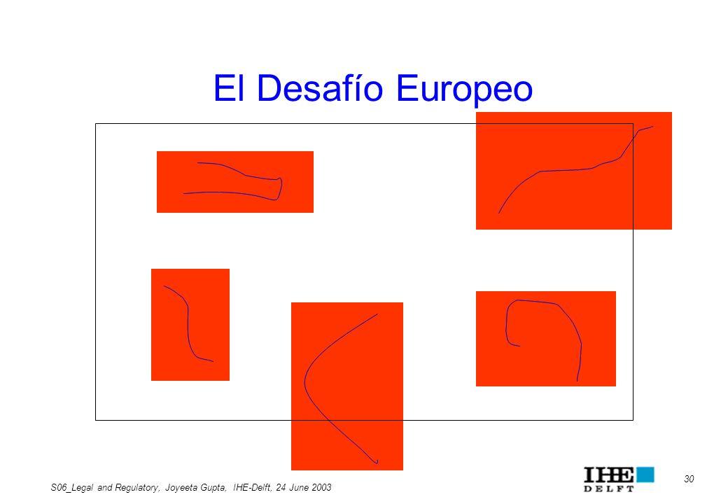 El Desafío Europeo S06_Legal and Regulatory, Joyeeta Gupta, IHE-Delft, 24 June 2003