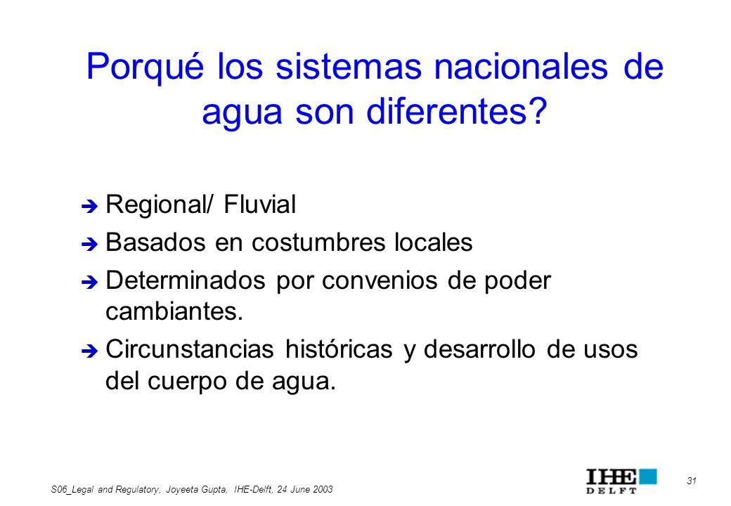 Porqué los sistemas nacionales de agua son diferentes