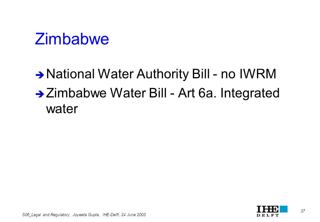 Zimbabwe National Water Authority Bill - no IWRM