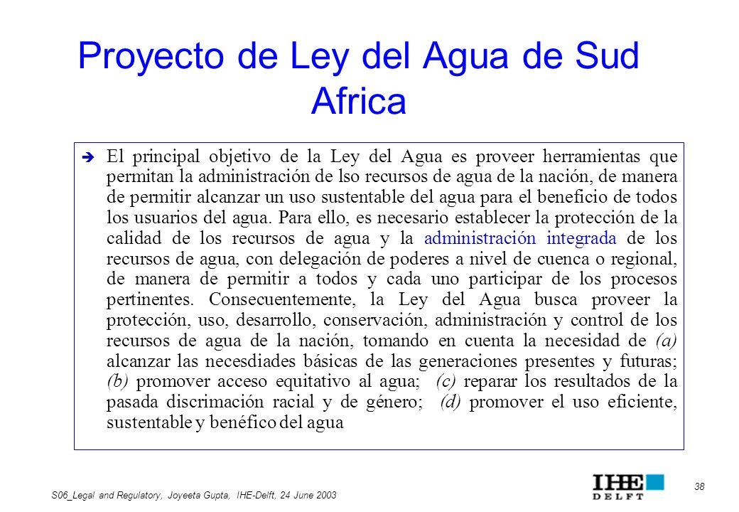 Proyecto de Ley del Agua de Sud Africa