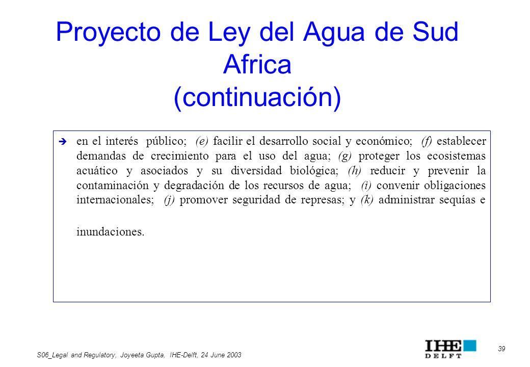 Proyecto de Ley del Agua de Sud Africa (continuación)