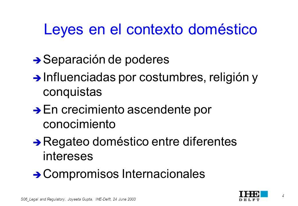 Leyes en el contexto doméstico