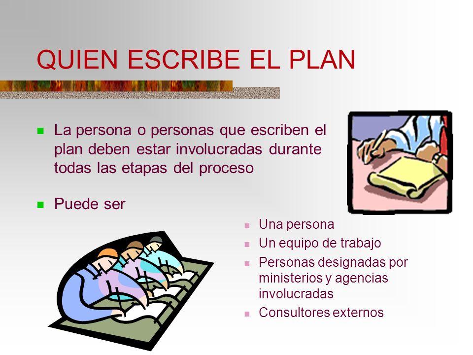 QUIEN ESCRIBE EL PLAN La persona o personas que escriben el plan deben estar involucradas durante todas las etapas del proceso.