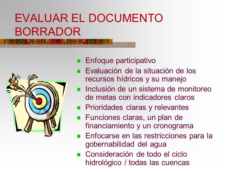 EVALUAR EL DOCUMENTO BORRADOR