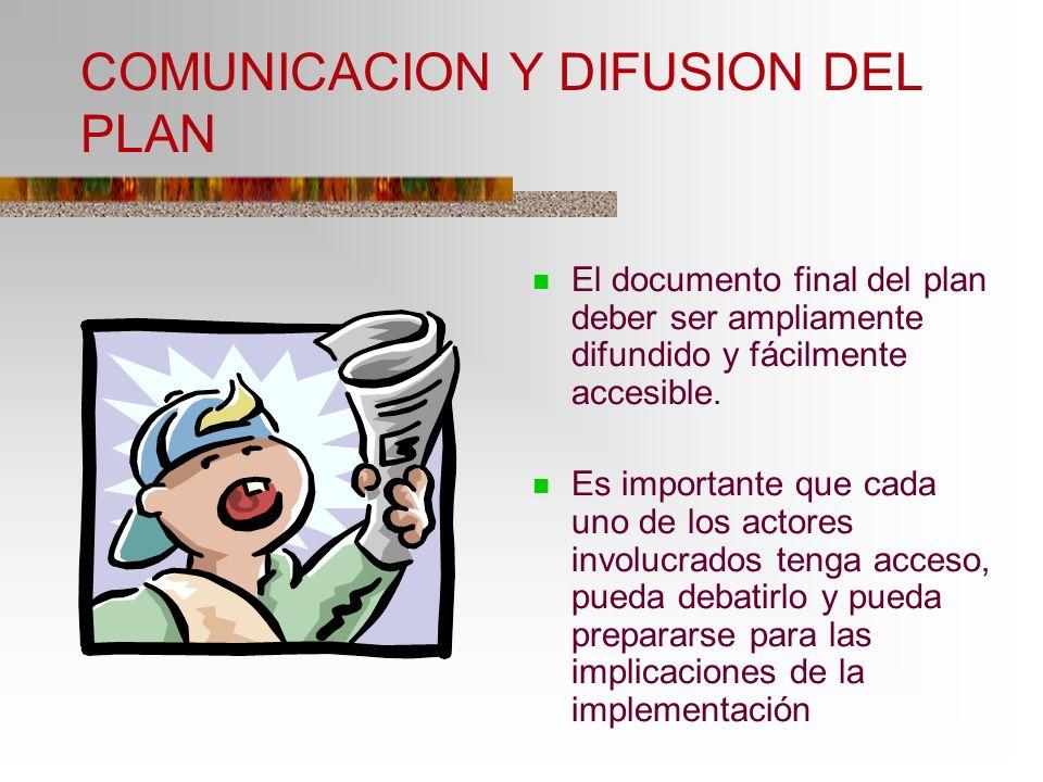 COMUNICACION Y DIFUSION DEL PLAN