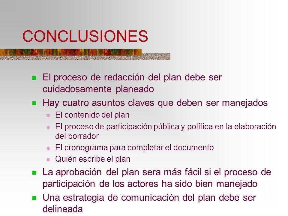 CONCLUSIONES El proceso de redacción del plan debe ser cuidadosamente planeado. Hay cuatro asuntos claves que deben ser manejados.