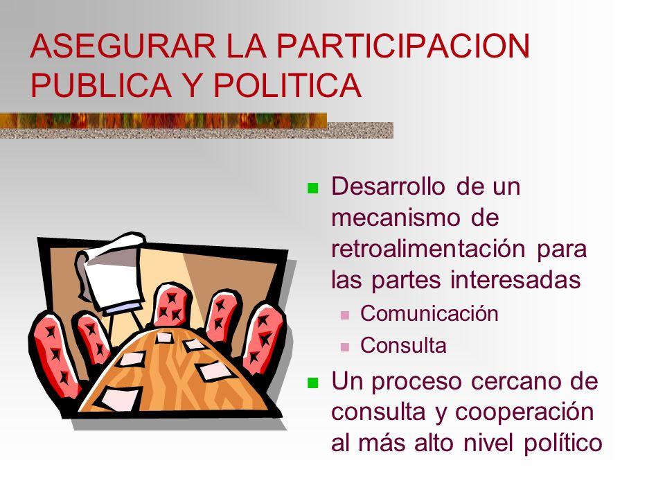 ASEGURAR LA PARTICIPACION PUBLICA Y POLITICA