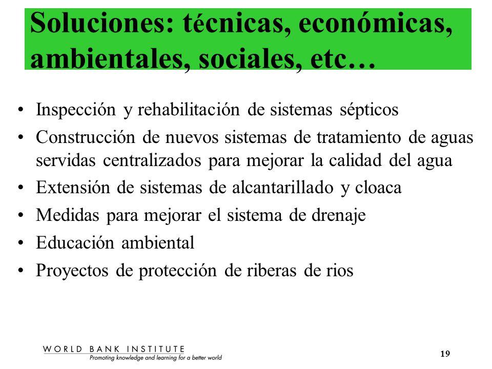 Soluciones: técnicas, económicas, ambientales, sociales, etc…