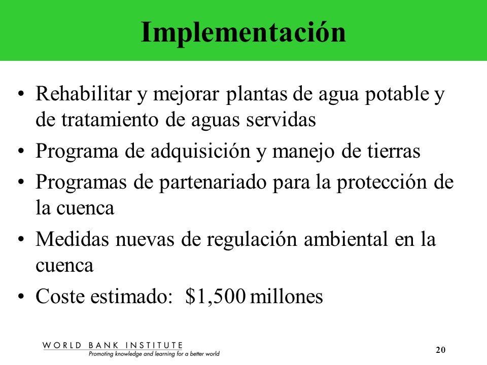 ImplementaciónRehabilitar y mejorar plantas de agua potable y de tratamiento de aguas servidas. Programa de adquisición y manejo de tierras.
