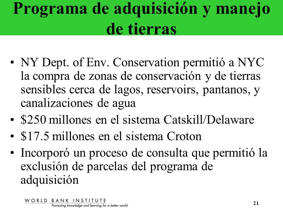 Programa de adquisición y manejo de tierras