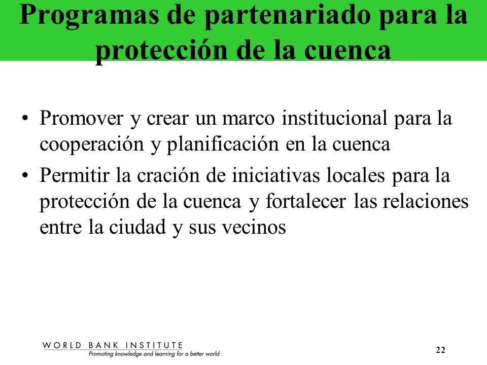 Programas de partenariado para la protección de la cuenca