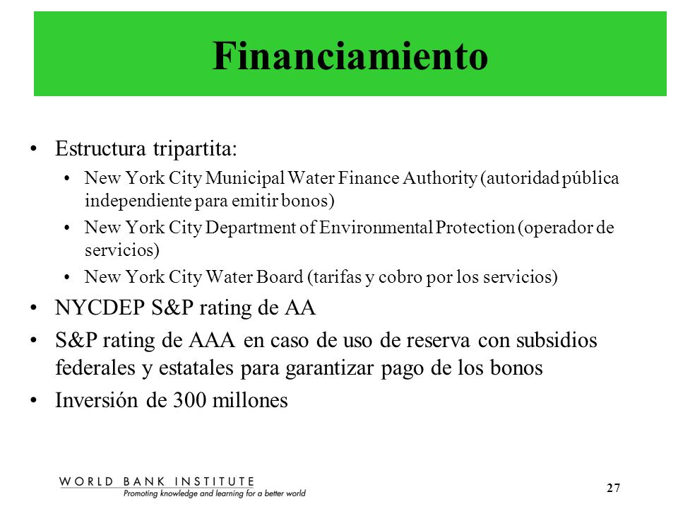 Financiamiento Estructura tripartita: NYCDEP S&P rating de AA