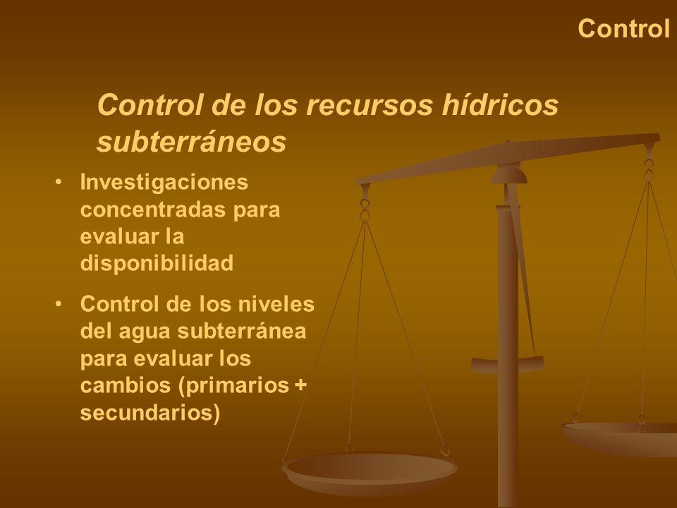 Control de los recursos hídricos subterráneos