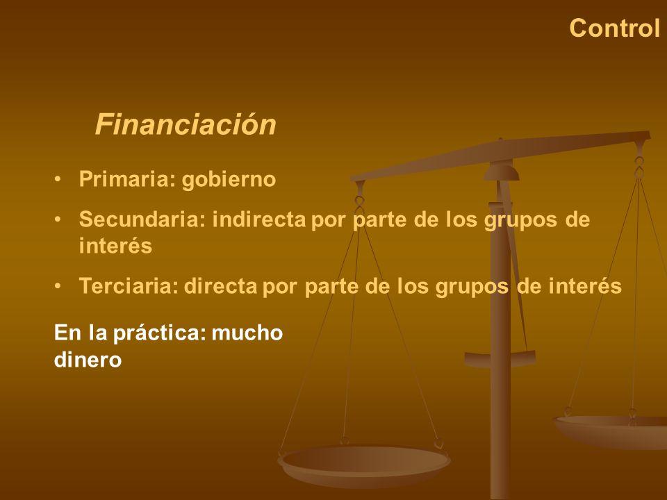 Financiación Control Primaria: gobierno