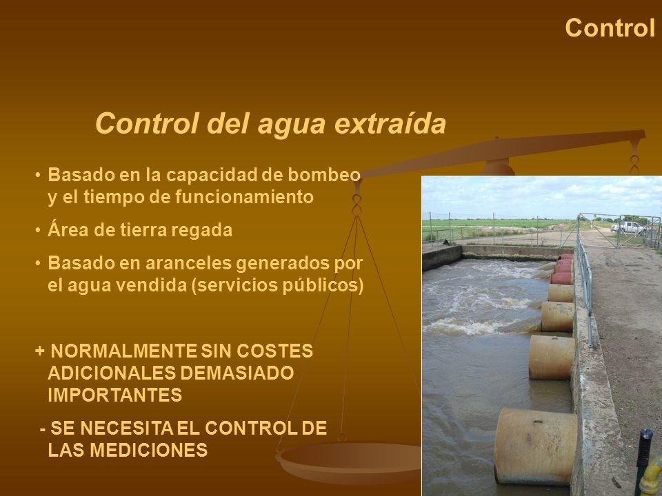 Control del agua extraída