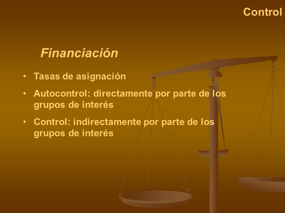 Financiación Control Tasas de asignación