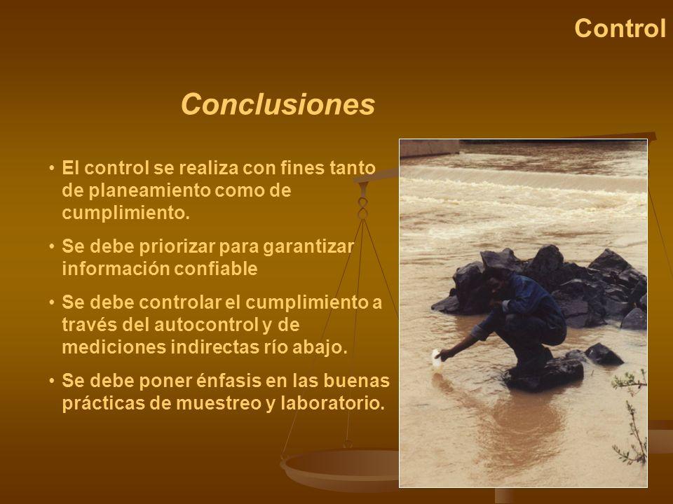 Control Conclusiones. El control se realiza con fines tanto de planeamiento como de cumplimiento.