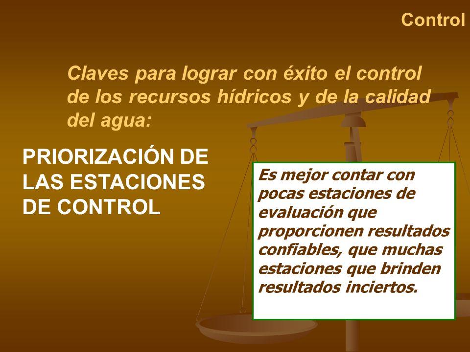 PRIORIZACIÓN DE LAS ESTACIONES DE CONTROL