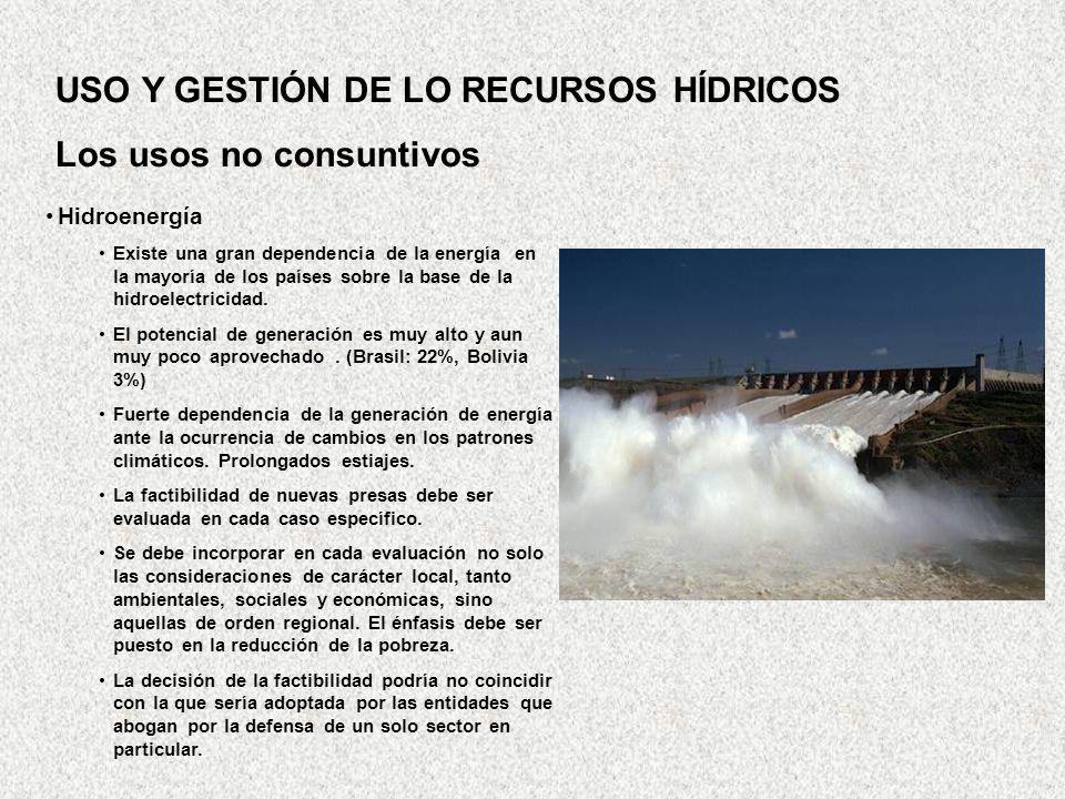 USO Y GESTIÓN DE LO RECURSOS HÍDRICOS Los usos no consuntivos
