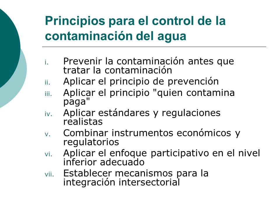 Principios para el control de la contaminación del agua
